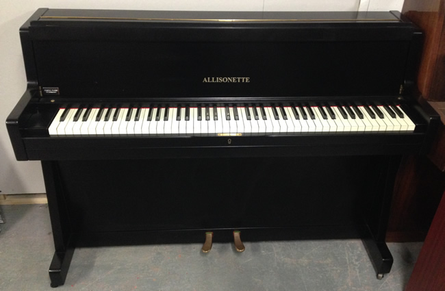 Allisonette english mini upright piano in a black satin for Small upright piano dimensions