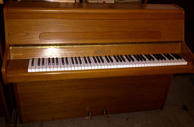 Bentley 85c small modern upright piano in a teak satin cabinet for Small upright piano dimensions
