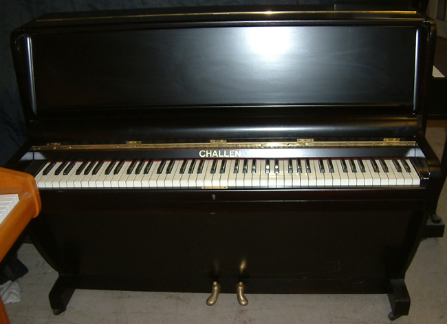 challen piano in a Black satin finish.