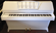 Eavestaff minroyal white satin piano.