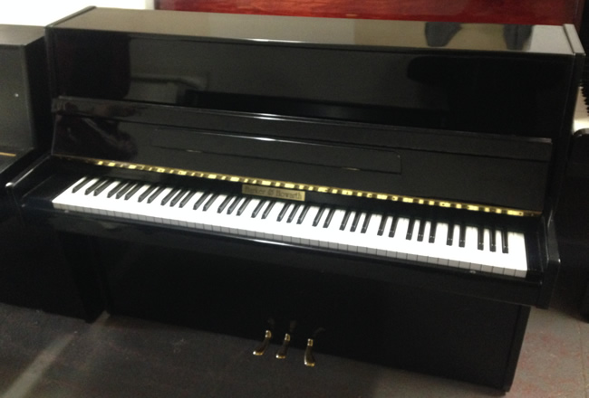 Harker Howarth Black Gloss upright piano for rent.