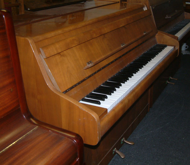 Bentley 85c small modern upright piano in a walnut cabinet for Small upright piano dimensions