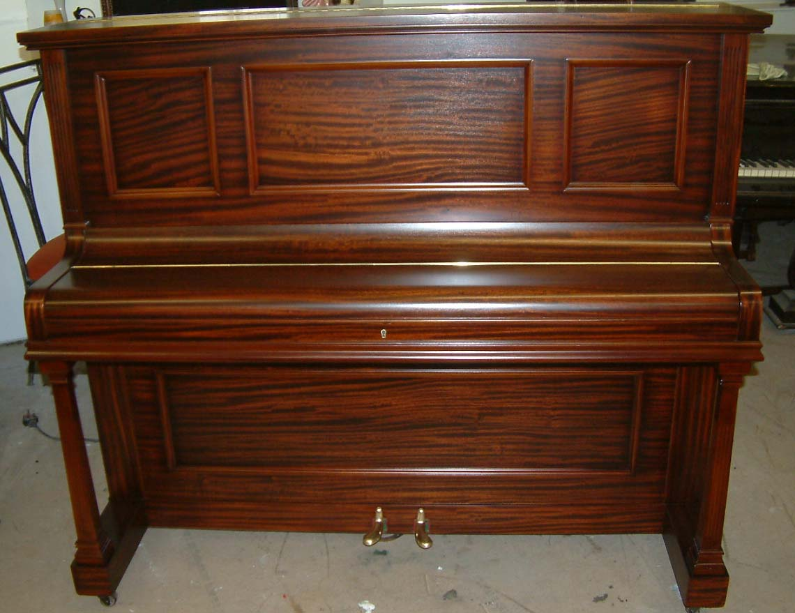 rogers english overstrung underdamper upright piano restored in a mahogany satin cabinet. Black Bedroom Furniture Sets. Home Design Ideas