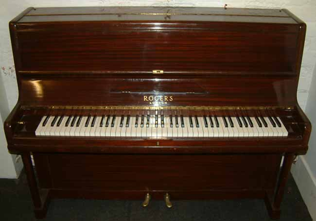 rogers english mahogany overstrung used upright piano. Black Bedroom Furniture Sets. Home Design Ideas