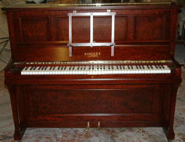rogers piano english fiddleback mahogany traditional overstrung used upright restored and re. Black Bedroom Furniture Sets. Home Design Ideas