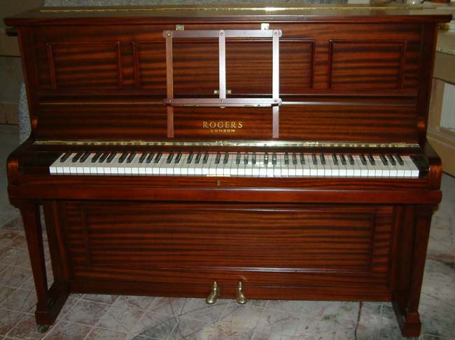 rogers traditional english mahogany upright piano awaiting restoration. Black Bedroom Furniture Sets. Home Design Ideas