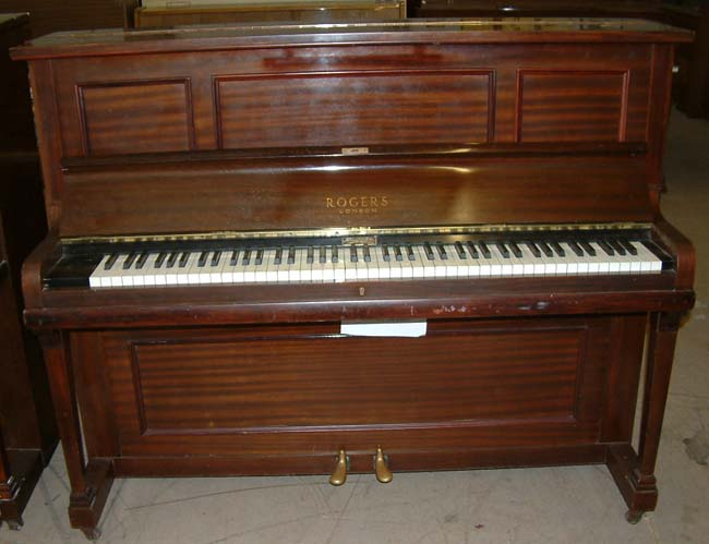 rogers pianos english mahogany traditional overstrung used upright. Black Bedroom Furniture Sets. Home Design Ideas