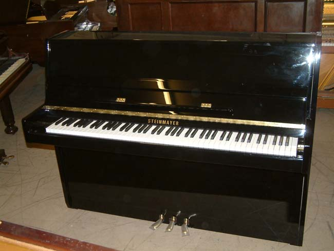 Steinmayer 108 upright in a Black high gloss finish.