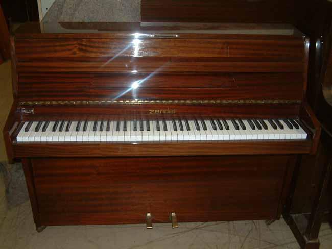 Zender mahogany small modern pianos restored for Small upright piano dimensions