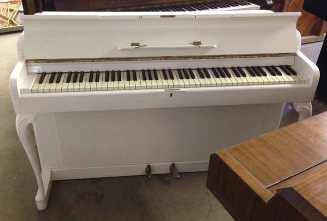 Kemble minx small white satin upright piano for Small upright piano dimensions
