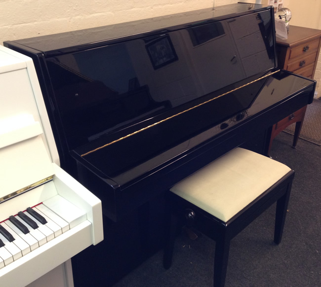 Opus small modern upright piano in a black high gloss cabinet for Small upright piano dimensions