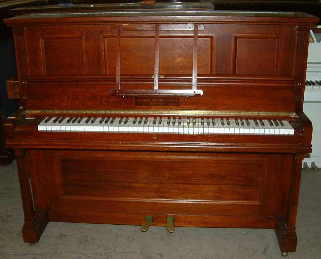 rogers of london traditional upright piano in a medium oak cabinet. Black Bedroom Furniture Sets. Home Design Ideas