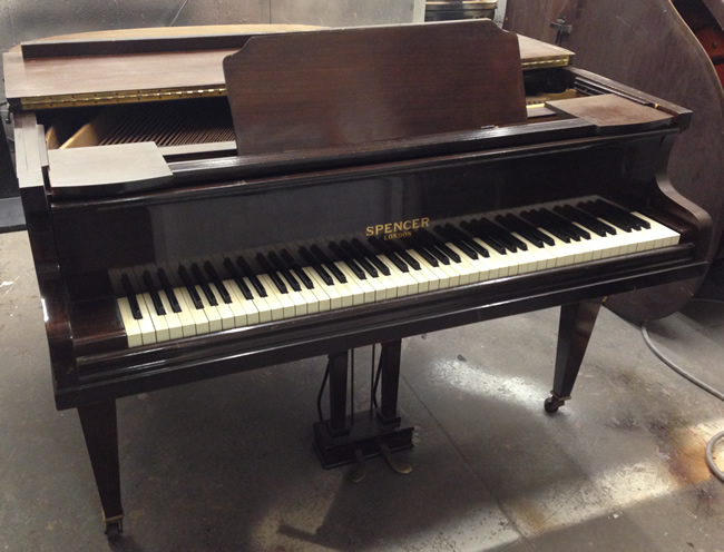Spencer baby grand piano to be restored and repolished black or white satin.
