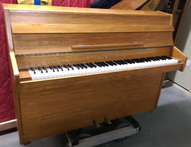 Teak zender small modern piano to be restored and re for Small upright piano dimensions