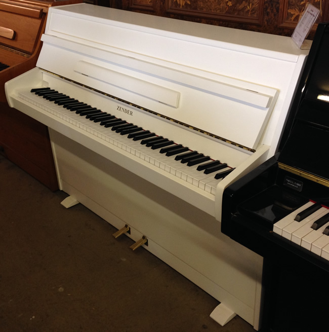 Small zender modern upright piano restored and re polished for Small grand piano size